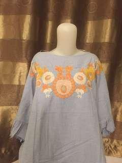 Zara embroidery blue blouse