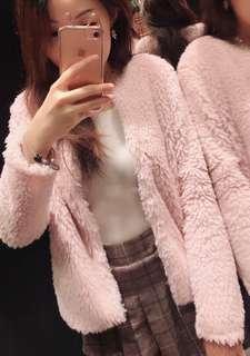 🚚 全新H&M粉色毛茸茸外套泰迪熊毛毛外套毛海粉紅色毛毛外套粉紅毛絨絨短外套短大衣皮草