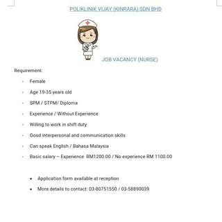 Vacancy for nuse