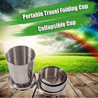 75ml 便攜式 不鏽鋼 折疊杯 水杯 小酒杯 伸縮杯 304 收縮杯 壓縮杯 摺疊杯 不銹鋼 戶外 旅行 金屬 旅遊 stainless steel folding foldable collapsible cup