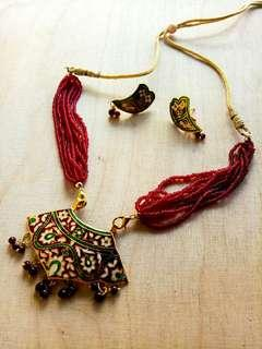 Red Indian Necklace and Earrings Set