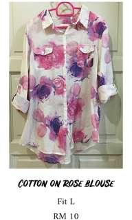 Cotton on rose blouse