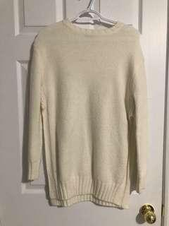 Zara- Cream Side Slit Sweater