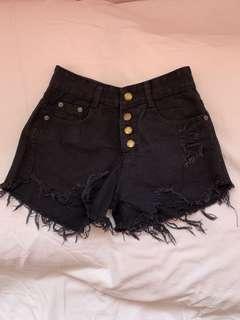 Ripped Denim High-waisted Shorts