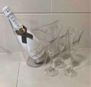 玻璃香檳杯3隻+塑膠冰桶1個