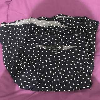 Polkadot Navy Skirt by Cotton On
