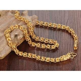 🚚 18K Dragon Head Gold Plated Necklace Chian