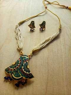 White Indian Necklace and Earrings Set