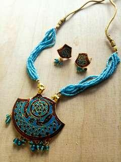 Blue Indian Necklace and Earrings Set
