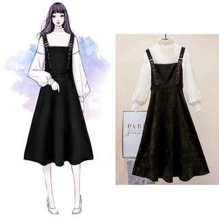 🚚 BN High Quality Black Long Dress with White Sweater
