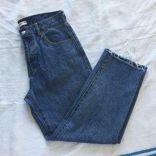 Pull&Bear Blue Denim Raw Hem Jeans with Repairs