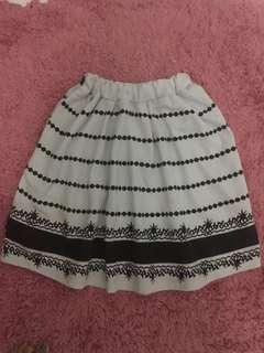 White Tribal Flare Skirt