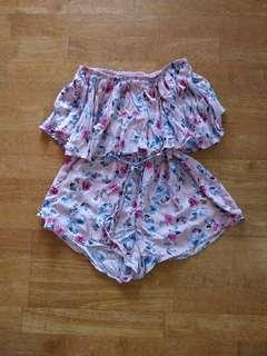 Cute Floral Strapless Playsuit