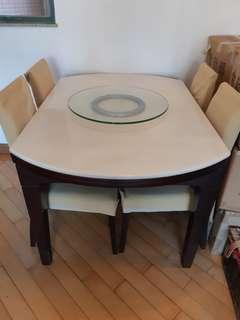 雲台枱十4張椅(屯門自拆取)   136cm x 91 cm
