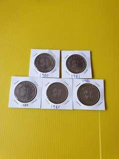 Old Coins RM $1 (5coins) 1980,81,84,85,86