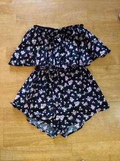 Cute Black Floral Strapless Playsuit