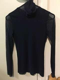 Turtle neck sheer long sleeve top (new)