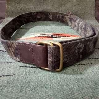 Nylon Camo Camouflage Belt With Metal Buckle & Leather Trim Tali Pinggang