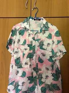 Pink Tropical Button up Top