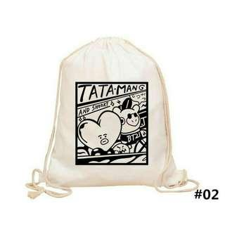 BTS BT21 TATA MANG SHOOKY CUTE CANVAS DRAWSTRING BAG