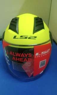Ls2 啞色 黃 開面 電單車 頭盔 加加大碼 全新貨 xxl