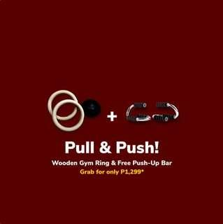 Wooden Gym Ring + Push Up Bar