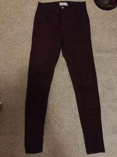 Topshop maroon moto jeans