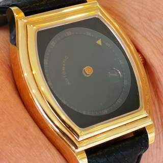 極罕有 Jean Marcel Gold Plated Black Dail Jumping Hour watch (瑞士Jean Marcel跳時黑面包金手錶)