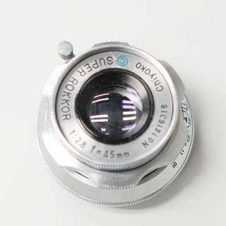 Minolta Chiyoko Super Rollor 45mm F2.8 L39 mount1416316 有小花痕 不影響成像