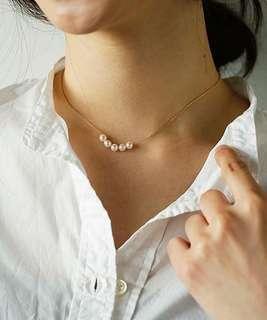 🚚 日本品牌con affetto k18珍珠鎖骨鏈 細項鍊