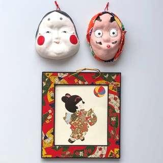 Japanese Mask Display Decor Display Decorations Miniature Toy Figurine Anime Japanese Doll Display Stand Display Deco Display Decorate Wall Display Hang