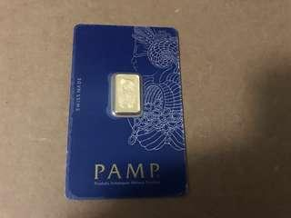 Switzerland 2.5 Gram pamp Swiss gold ingot Bar fortuna design