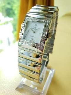 Omega Constellation Diamonds White Mother of Pearl Dial Glossy SS Ladies