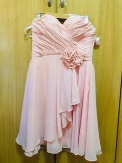Baby pink tie-back formal dress