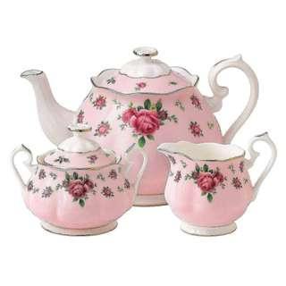 Royal Albert New County Roses Pink Tea Set