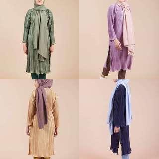 🚚 PLEATED TOP baju tunic tunik blouse labuh pelum blouse dalia  kurta kurti split