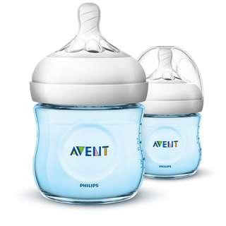 🚚 Philips Avent Natural Baby Bottle 125ml/4oz Blue, 0m+, Pack of 2
