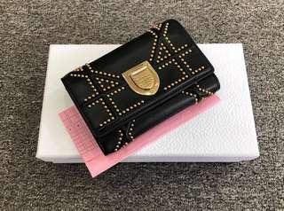(CLEARANCE SALE 💥) Authentic Cd Diorama Wallet Studded Leather in Excellent Condition