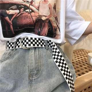 🚚 《全新》黑白撞色格子布皮帶