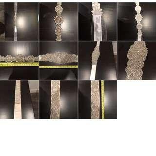 Three crystal sash belts for sale !!