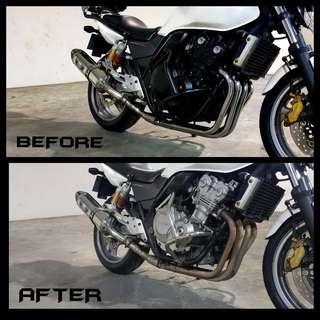CB400 REVO Header Polishing / Engine Spraying