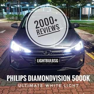 New 2019 Hyundai Avante on philips diamondvision white halogen car headlight bulb + installation (Will not void warranty)