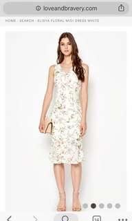 🚚 LAB Elisya Floral Midi Dress In White