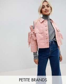 🚚 Asos pink cold shoulder denim jacket