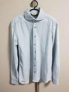 Suitsupply Slim Fit Alibate Denim Shirt - Size 15/38