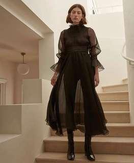 *Designer* Beaufille RS18 Sol Plissé-Chiffon Midi Dress