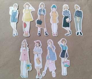 10pcs. Girl Stickers Set P