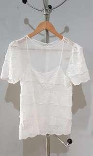 Atasan White Sheer Lace