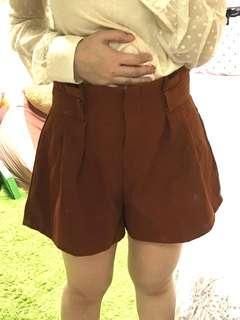 日系 腿超顯細毛呢花苞褲裙