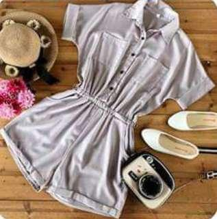 Buttoned and Collared Romper